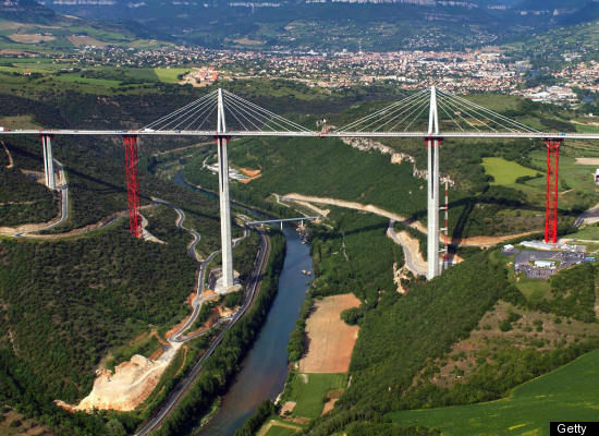 At its highest point, the Millau Viaduct is 23 meters higher than the Eiffel Tower.