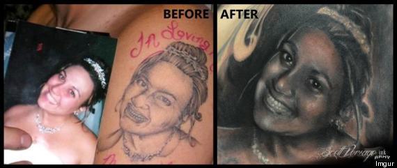 Entre la photo qui a servi de modèle et le tatouage, il y a clairement un  fossé. Les traits du dessin sont grossiers, le sourire est rude et la  finition