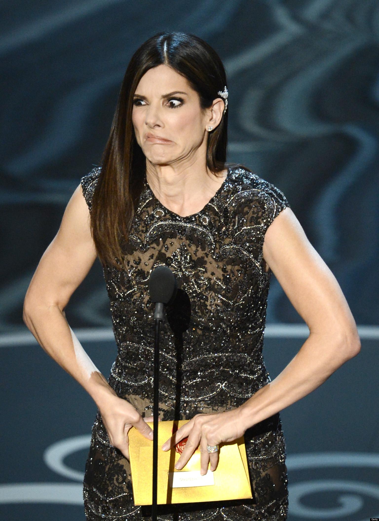 Sandra S Closet: Sandra Bullock's Oscars Face: Actress Makes Wacky