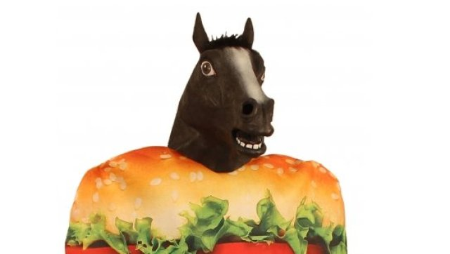 A photo of the horse burger costume, available from Fancy Dress Costumes, which pokes fun at Europe's horse meat scandal.