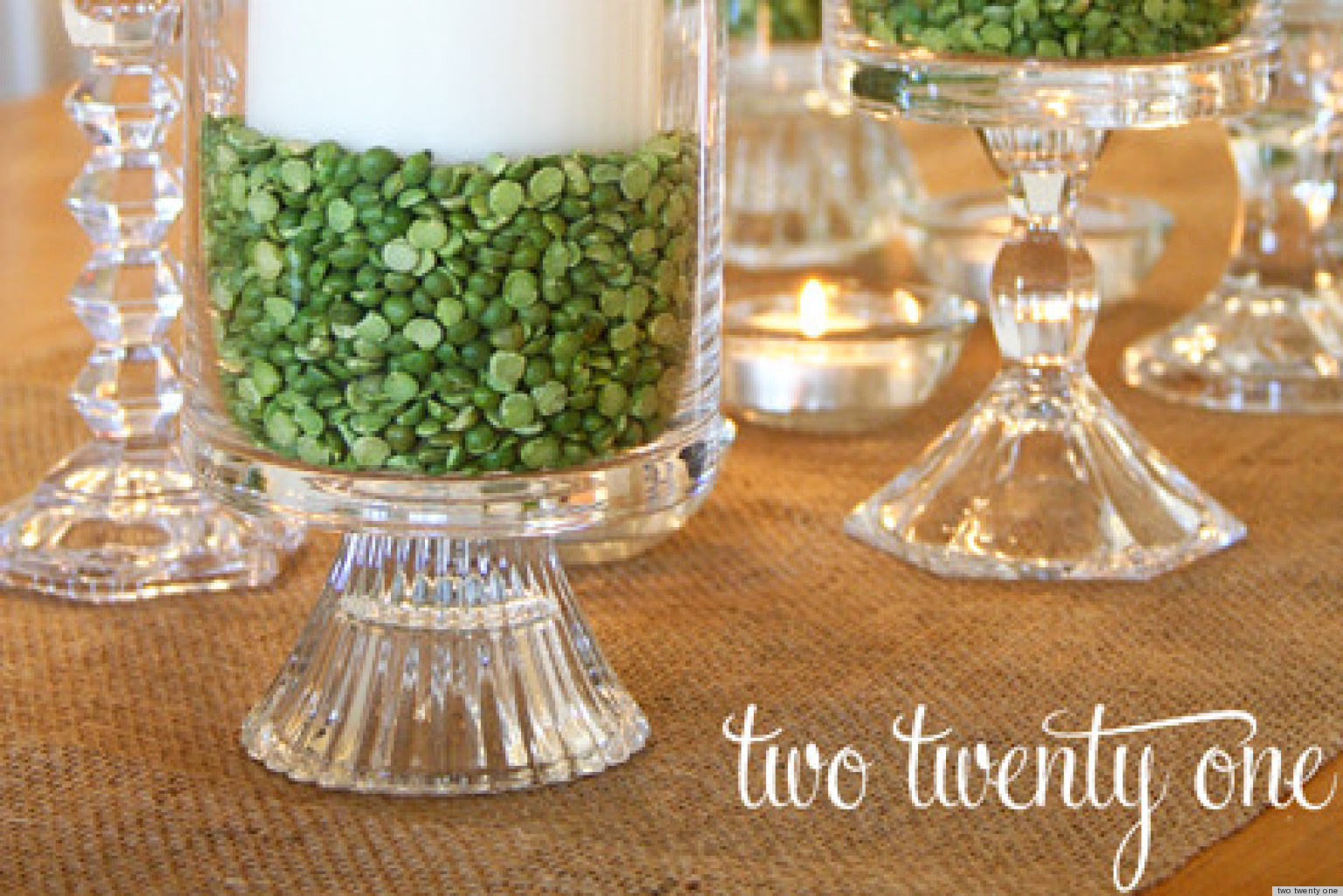 St. Patrick\'s Day Ideas: Make A Candle Centerpiece With Green Split ...