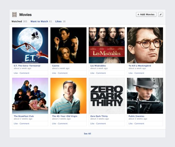 timeline facebook cinema