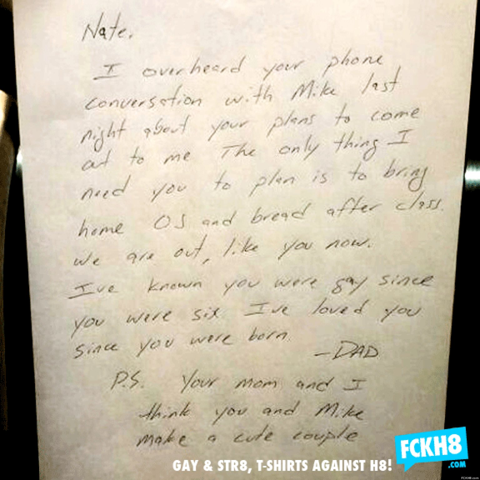 Dads touching note to gay son nate worried about coming out goes dads touching note to gay son nate worried about coming out goes viral picture huffpost uk mitanshu Gallery