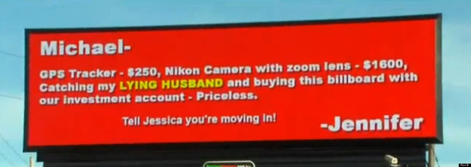 Cheating Husband Quotes Cheating Husband Billboard Scorned Wife Appears To Call Out