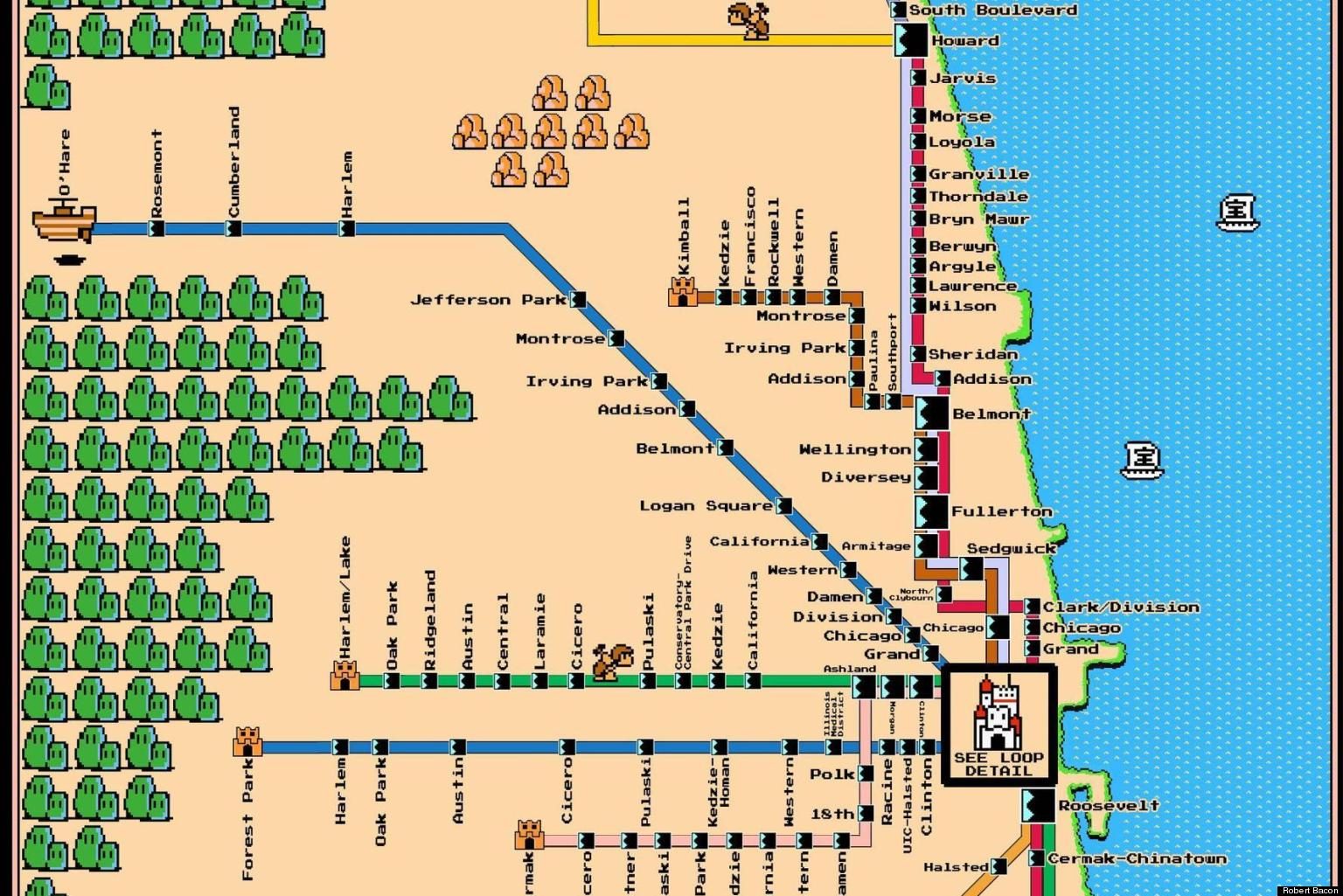 Super mario bros l map chicagos transit system gets the video super mario bros l map chicagos transit system gets the video game treatment photo huffpost gumiabroncs Gallery