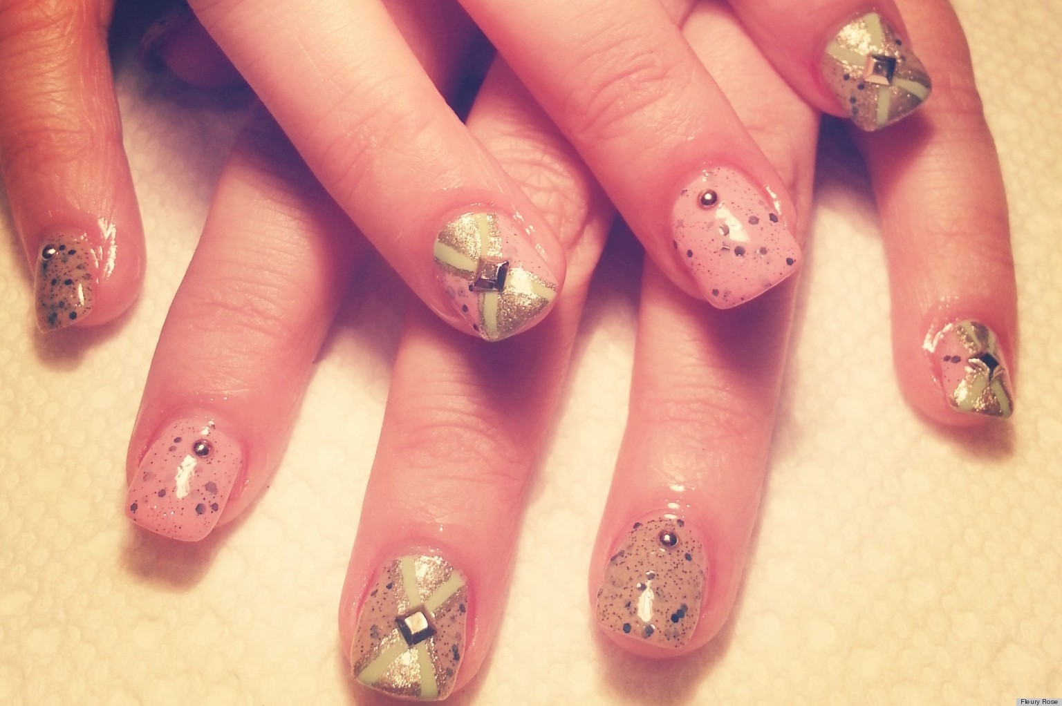Easter Nail Art Studded Robins Egg Manicure PHOTO