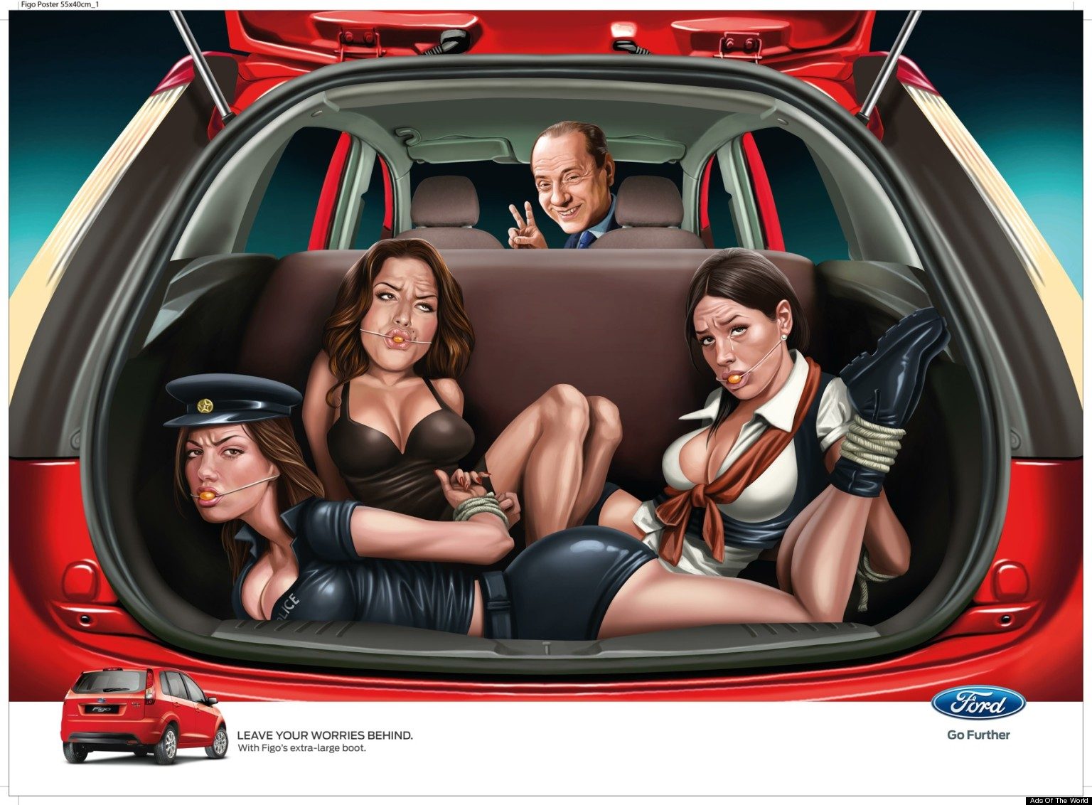 Ford india ad car company ad agency apologize for figo ad showing gagged bound women image huffpost