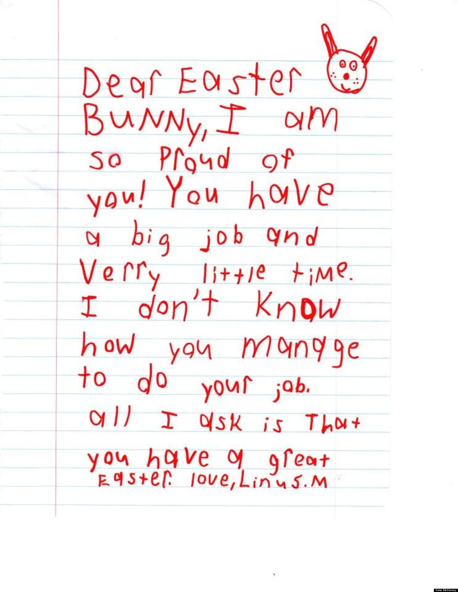 cute kid note of the day dear easter bunny huffpost