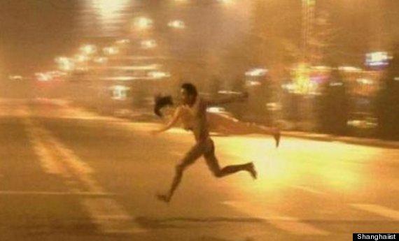Guy running naked