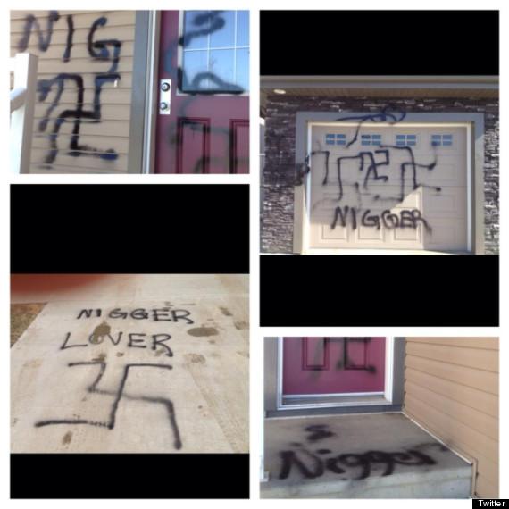 racist graffiti edmonton