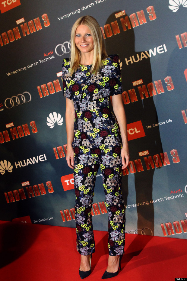 c3b4a061759 Sin Or Win  Gwyneth Paltrow s Floral-Print Jumpsuit At Iron Man 3 ...