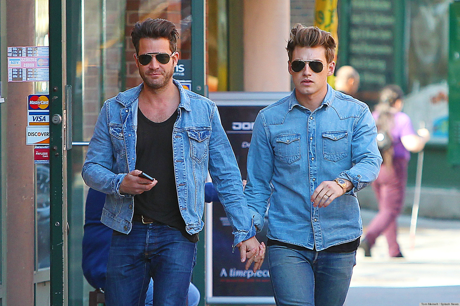 nate berkus and jeremiah brent step out in matching denim. Black Bedroom Furniture Sets. Home Design Ideas
