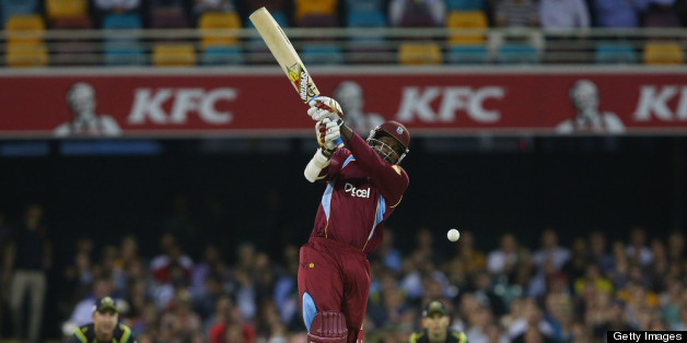 BRISBANE, AUSTRALIA - FEBRUARY 13:  Chris Gayle of West Indies bats during the International Twenty20 match between Australia and the West Indies at The Gabba on February 13, 2013 in Brisbane, Australia.  (Photo by Chris Hyde/Getty Images)