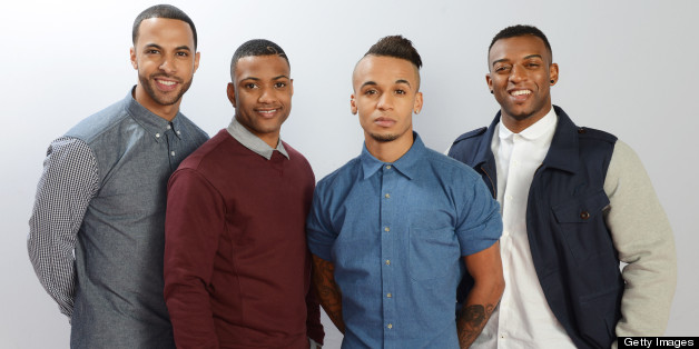 LONDON, ENGLAND - DECEMBER 08:  (UK TABLOID NEWSPAPERS OUT) (L-R) Marvin Humes, JB Gill, Aston Merrygold and Ortise Williams of JLS pose for a portrait on December 8, 2012 in London, England.  (Photo by Dave Hogan/Getty Images)