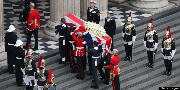 LONDON, ENGLAND - APRIL 17: Members of the Armed Services carry the coffin during the Ceremonial funeral of former British Prime Minister Baroness Thatcher at St Paul's Cathedral on April 17, 2013 in London, England. Dignitaries from around the world today join Queen Elizabeth II and Prince Philip, Duke of Edinburgh as the United Kingdom pays tribute to former Prime Minister Baroness Thatcher during a Ceremonial funeral with military honours at St Paul's Cathedral. Lady Thatcher, who died last week, was the first British female Prime Minister and served from 1979 to 1990. (Photo by Oli Scarff/Getty Images)