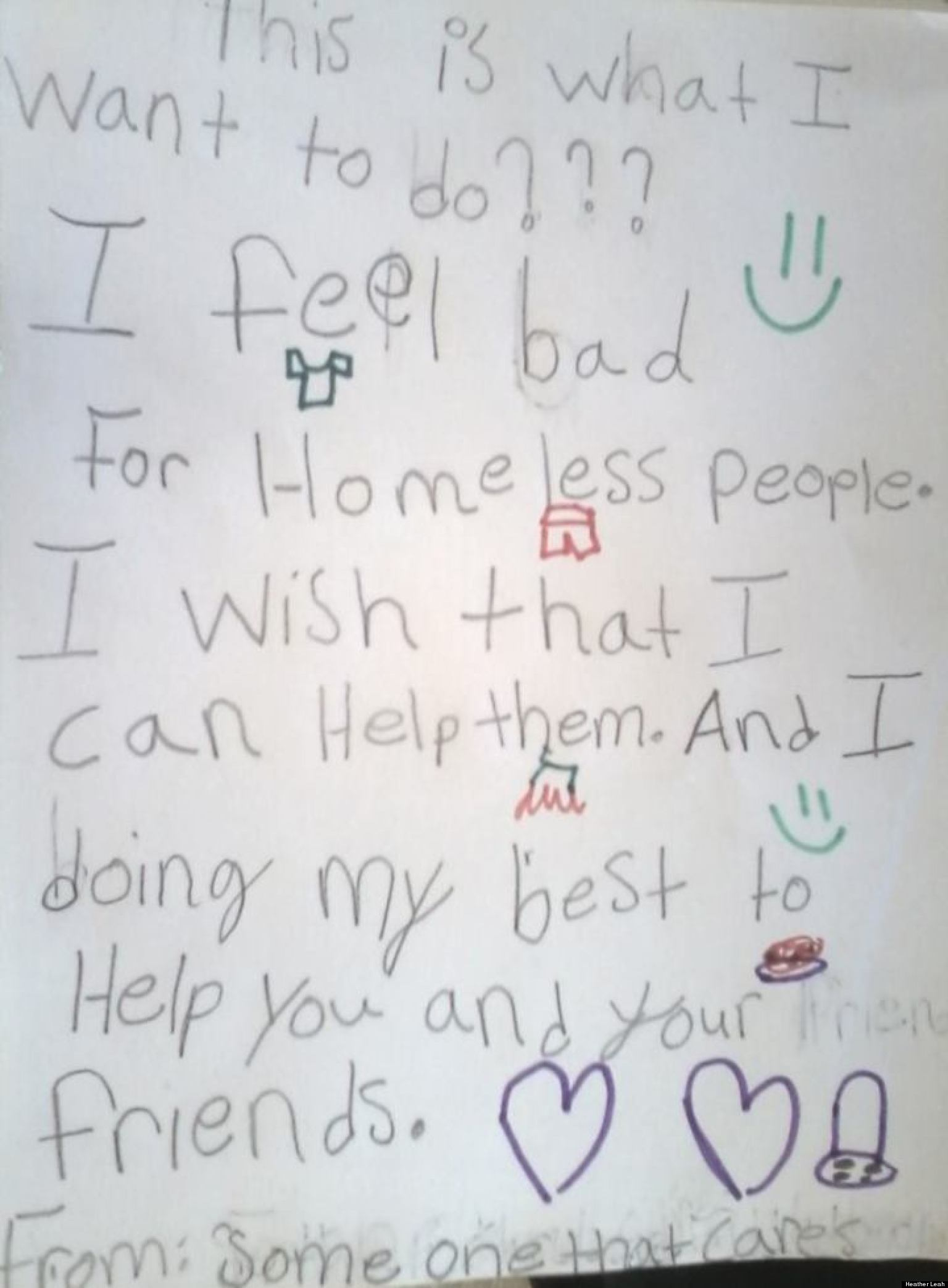 Heartwarming Kid Note Of The Day I Feel Bad For Homeless