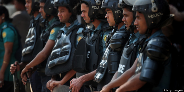 Police were out in force on the streets of Dhaka