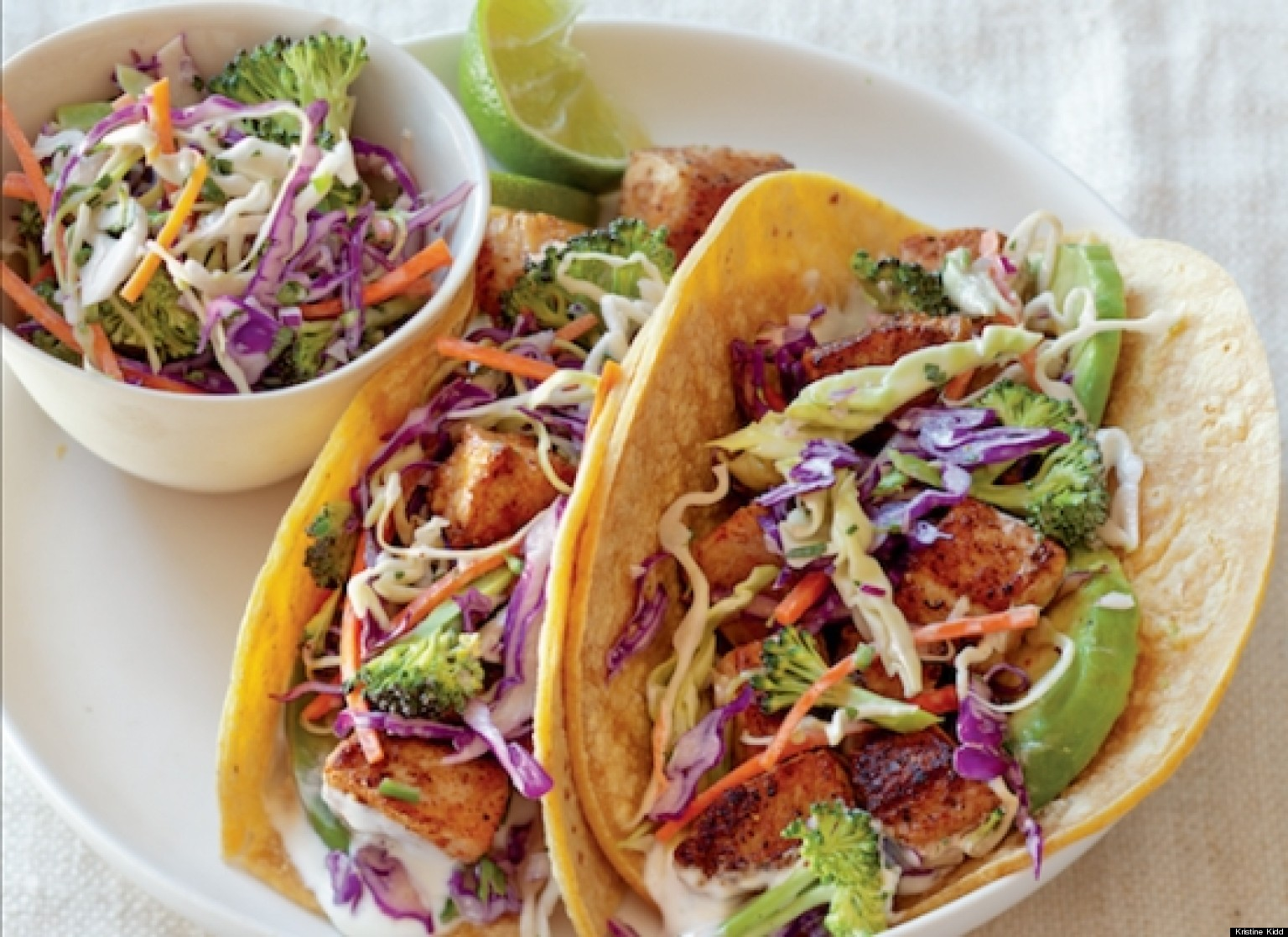 fish tacos recipe with broccoli slaw and lime cream sauce