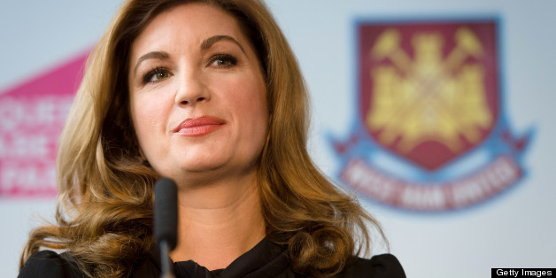West Ham United Vice Chairman Karren Brady listens to a question during a press conference in east London to announce the new deal between Newham council and West Ham United football club on March 22, 2013. The stadium built for the London 2012 Olympic summer games has had its future secured in a deal where the English Premier League team West Ham United will have a 99 year lease to use the stadium starting in 2016.  AFP PHOTO/LEON NEAL        (Photo credit should read LEON NEAL/AFP/Getty Images)