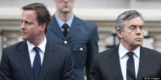 David Cameron And Gordon Brown At A National Service Of Commemoration To Mark The 65Th Anniversary Of Victory In Europe Day (Ve Day) On Saturday 8 May At The Cenotaph, Whitehall, London. (Photo by Mark Cuthbert/UK Press via Getty Images)