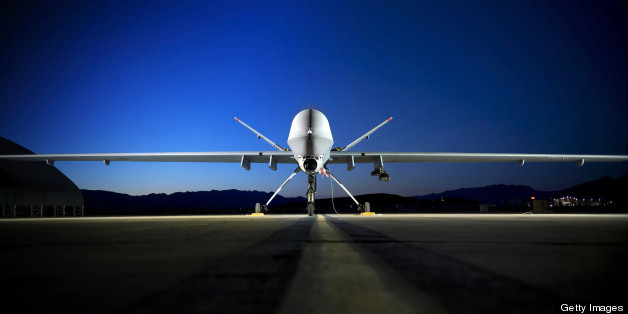 June 19, 2008 - An MQ-9 Reaper sits on the flightline at Creech Air Force Base, Nevada. The Reaper is capable of carrying both precision-guided bombs and air-to-ground missiles.