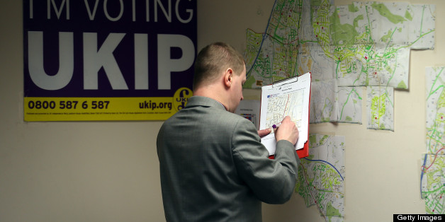 EASTLEIGH, HAMPSHIRE - FEBRUARY 22:  A UKIP party activist checks maps in the office for local candidate Diane James as they campaign for the forthcoming by-election on February 22, 2013 in Eastleigh, Hampshire. The by-election is being fought for the former seat of ex-Liberal Democrat MP Chris Huhne and will be held on February 28, 2013.  (Photo by Matt Cardy/Getty Images)