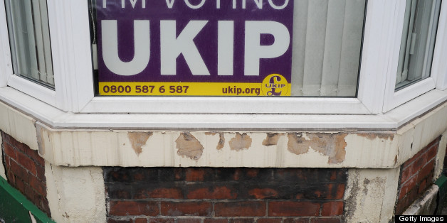 SOUTH SHIELDS, ENGLAND - MAY 02:  A UKIP posted is displayed in a house window on the day that voters head to the polls on May 2, 2013 in South Shields, England. The by-election was triggered after the former foreign secretary David Miliband announced that he was resigning from the House of commons in order to leave Britain and head up the New York based International Rescue Committee humanitarian organisation.  (Photo by Ian Forsyth/Getty Images)