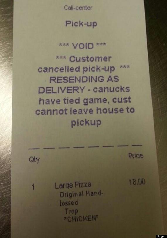 pizza receipt crazy vancouver hockey fan