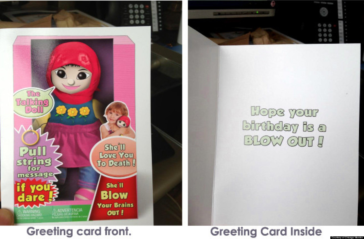Muslim Terrorist Doll Card Painting Hijab Wearing Girl As Suicide