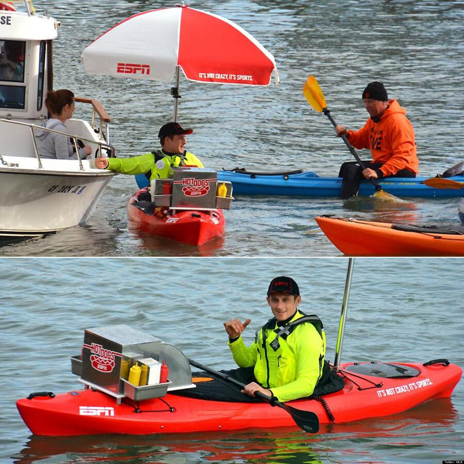 Hot Dog Kayak Serves Giants Fans In McCovey Cove Outside