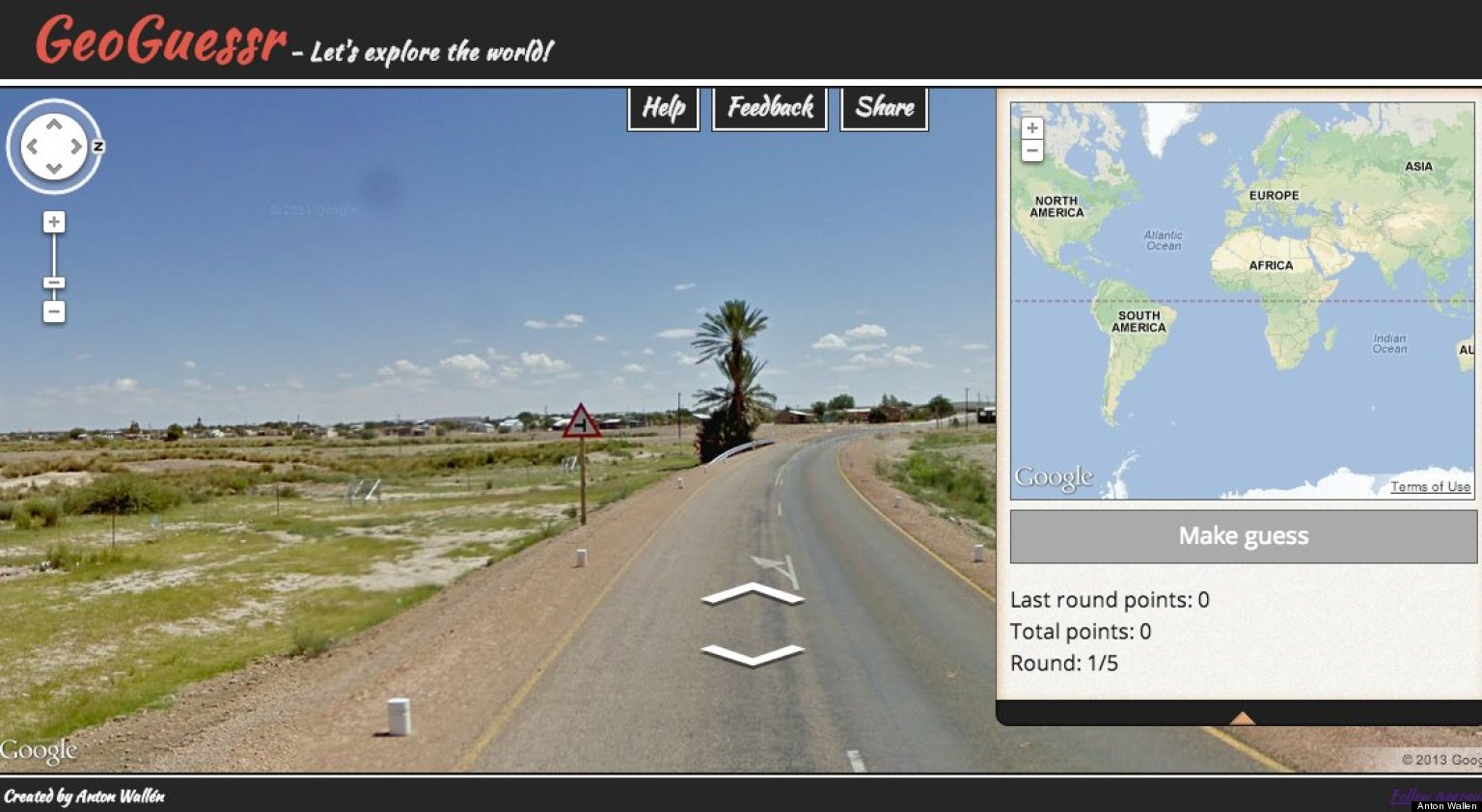 This is a website of Geoguessr