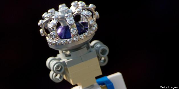 A 10cm high lego figure of Britain's Queen Elizabeth II, complete with a real diamond-encrusted crown, is pictured at the Legoland theme park in Windsor, west of London, on May 24, 2012. The Queen's Diamond Jubilee will take place June 2-5, 2012, and celebrations will include a festival of boats on the river Thames and the lighting of more than 2,000 beacons around the country during a four-day public holiday.  AFP PHOTO / ADRIAN DENNIS        (Photo credit should read ADRIAN DENNIS/AFP/GettyImages)