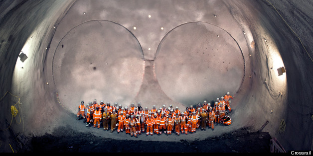 Workers in one of the world's largest man-made caverns at Stepney Green in London