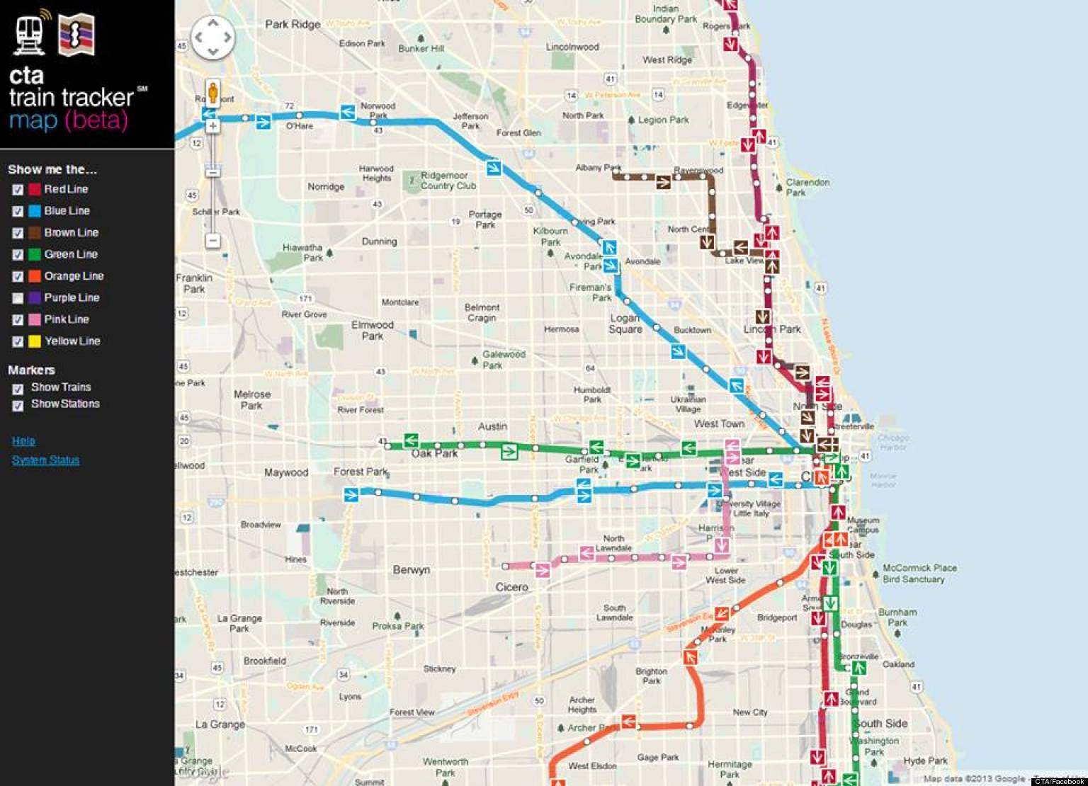 cta train tracker map debuts new chicago train app shows your  - cta train tracker map debuts new chicago train app shows your route inrealtime  huffpost