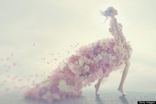 bride wearing flowers