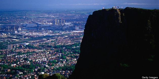 Hikers enjoying the view over Belfast city from Cave Hill, County Antrim, Northern Ireland, United Kingdom, Europe.