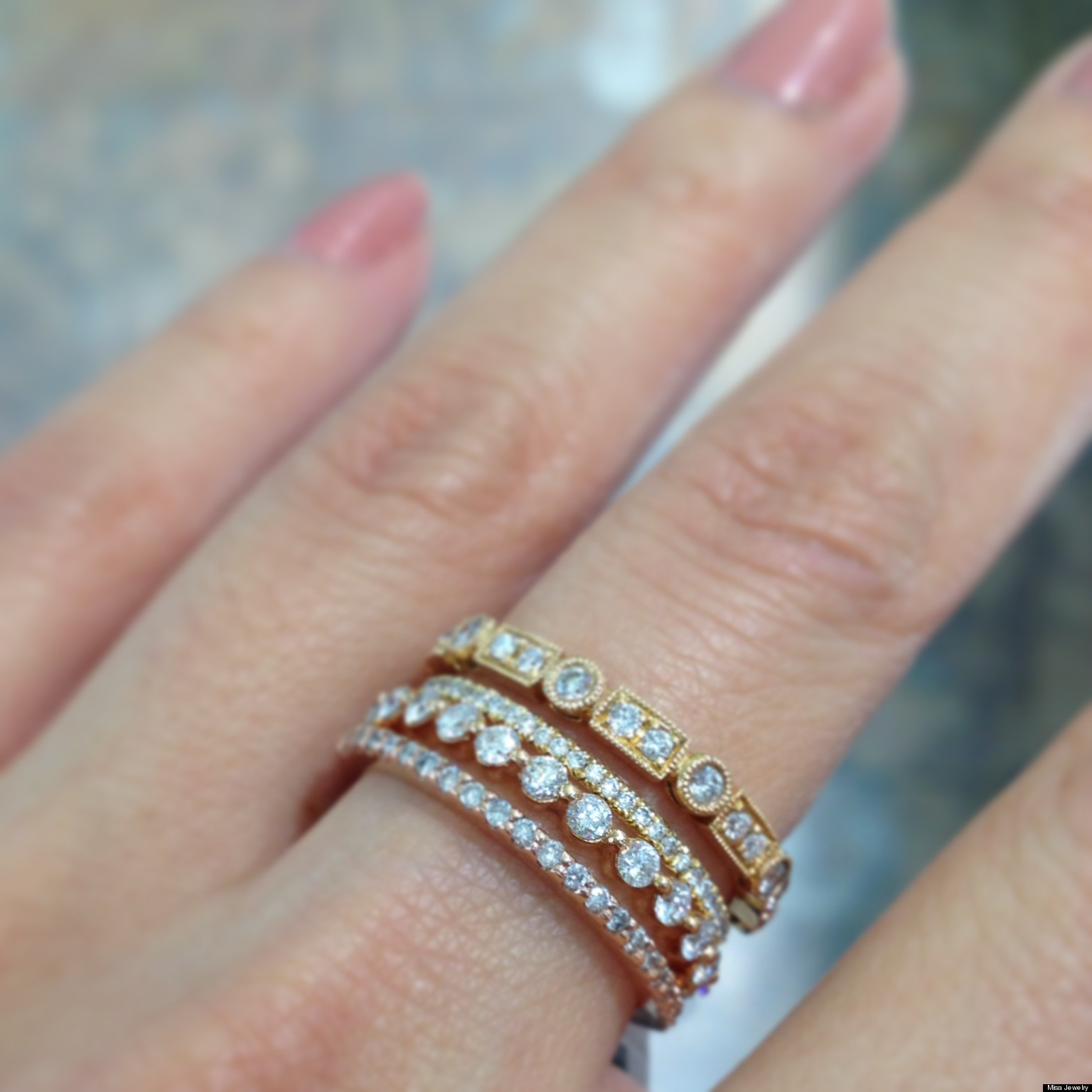 stackable wedding bands are one of our favorite jewelry trends photos huffpost - Stacked Wedding Rings