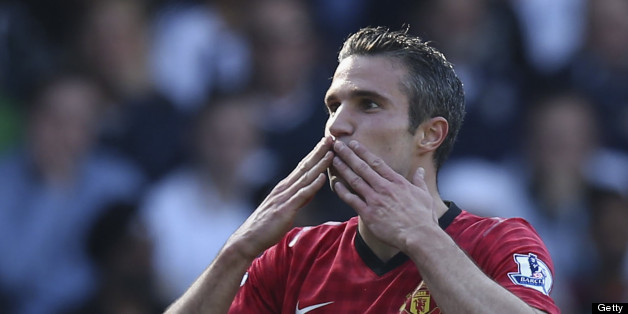 Van Persie celebrates his final goal of the season at West Brom