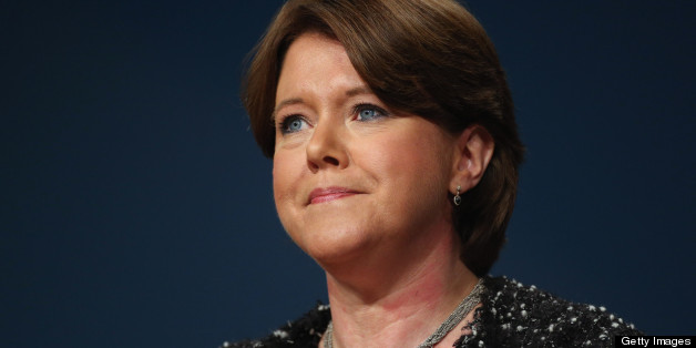 BIRMINGHAM, ENGLAND - OCTOBER 10:  Maria Miller, Secretary of State for Culture, Media and Sport,  delivers her speech to delegates on the last day of the Conservative party conference, in the International Convention Centre on October 10, 2012 in Birmingham, England. In his speech to close the annual, four-day Conservative party conference, Prime Minister David Cameron stated 'I'm not here to defend priviledge, I'm here to spread it'.  (Photo by Oli Scarff/Getty Images)