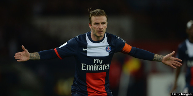 PARIS, FRANCE - MAY 18:  David Beckham of PSG in action during the Ligue 1 match between Paris Saint-Germain FC and Stade Brestois 29 at Parc des Princes on May 18, 2013 in Paris, France.  (Photo by Michael Regan/Getty Images)