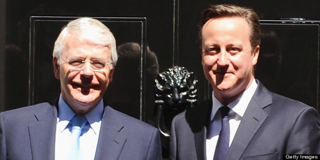 LONDON, ENGLAND - JULY 24: Former Prime Minister John Major and British Prime Minister David Cameron attend lunch hosted by Prime Minister David Cameron at 10 Downing Street on July 24, 2012 in London, England.  (Photo by Ferdaus Shamim/WireImage)