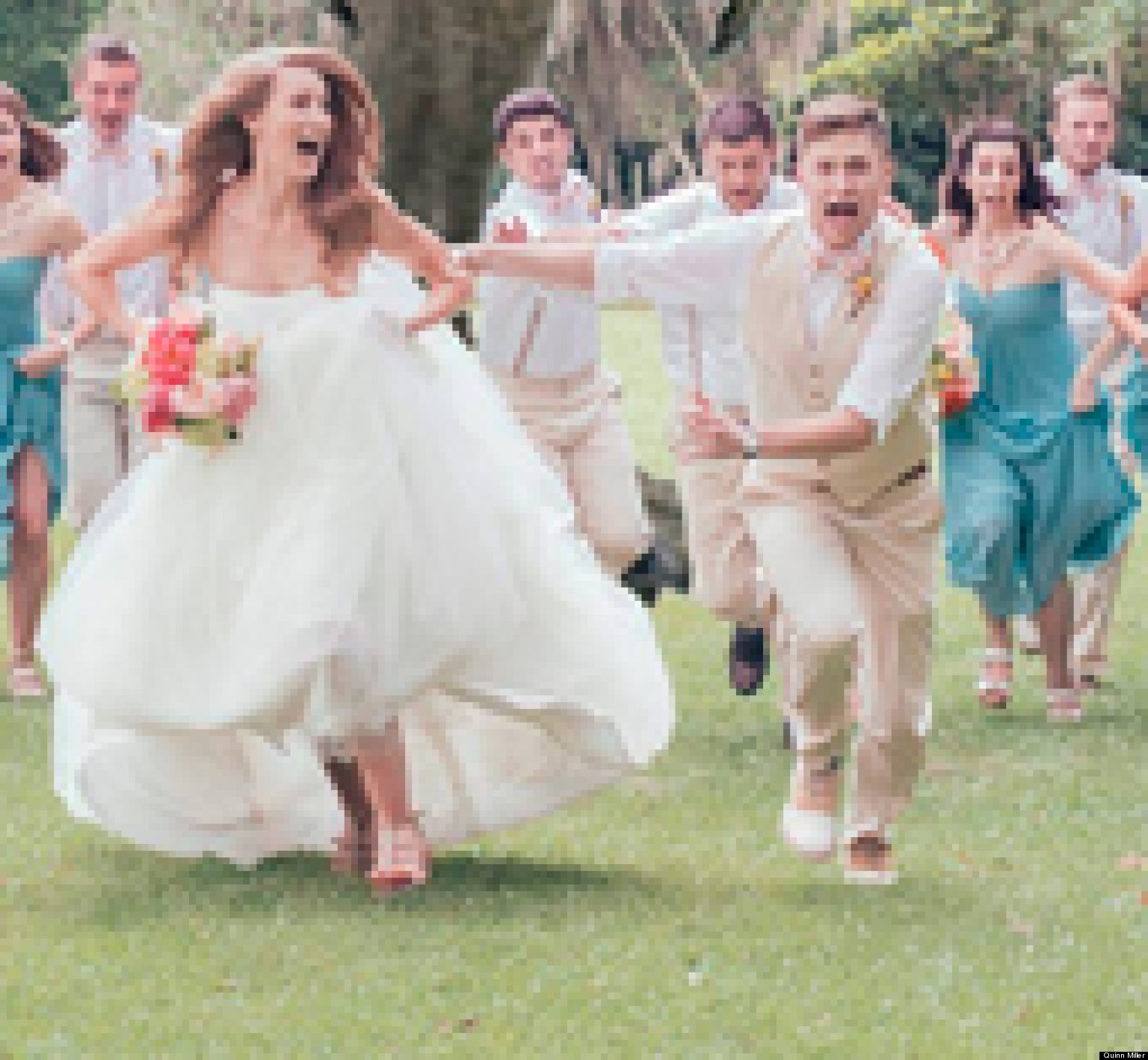 Bridal Photo Gallery: Dinosaur Wedding Photo: T-Rex Chases Bridal Party In Viral