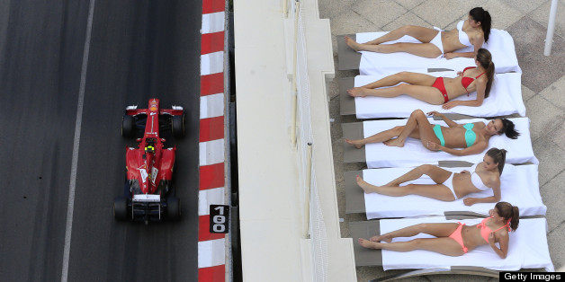 Sunbathers are disturbed at the Monaco Grand Prix