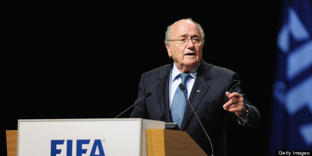 PORT LOUIS, MAURITIUS - MAY 31:  FIFA President Joseph S. Blatter takes the floor during the 63rd FIFA Congress at the Swami Vivekananda International Convention Centre on May 31, 2013 in Port Louis, Mauritius.  (Photo by Jamie McDonald - FIFA/FIFA via Getty Images)