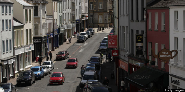 A picture taken on May 1, 2013 shows a general view of the high street in Enniskillen, County Fermanagh, Northern Ireland, near the venue for the Group of Eight (G8) summit to be held next month. The leaders of the Group of Eight richest nations will meet at Lough Erne golf resort near Enniskillen in Northern Ireland on June 17 and 18. AFP PHOTO / PETER MUHLY        (Photo credit should read PETER MUHLY/AFP/Getty Images)