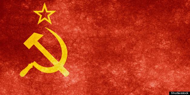grungy soviet flag on vintage...