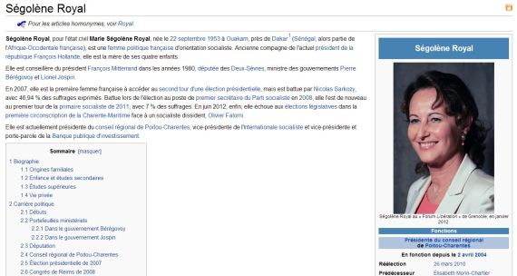 wikipedia controverse segole royale