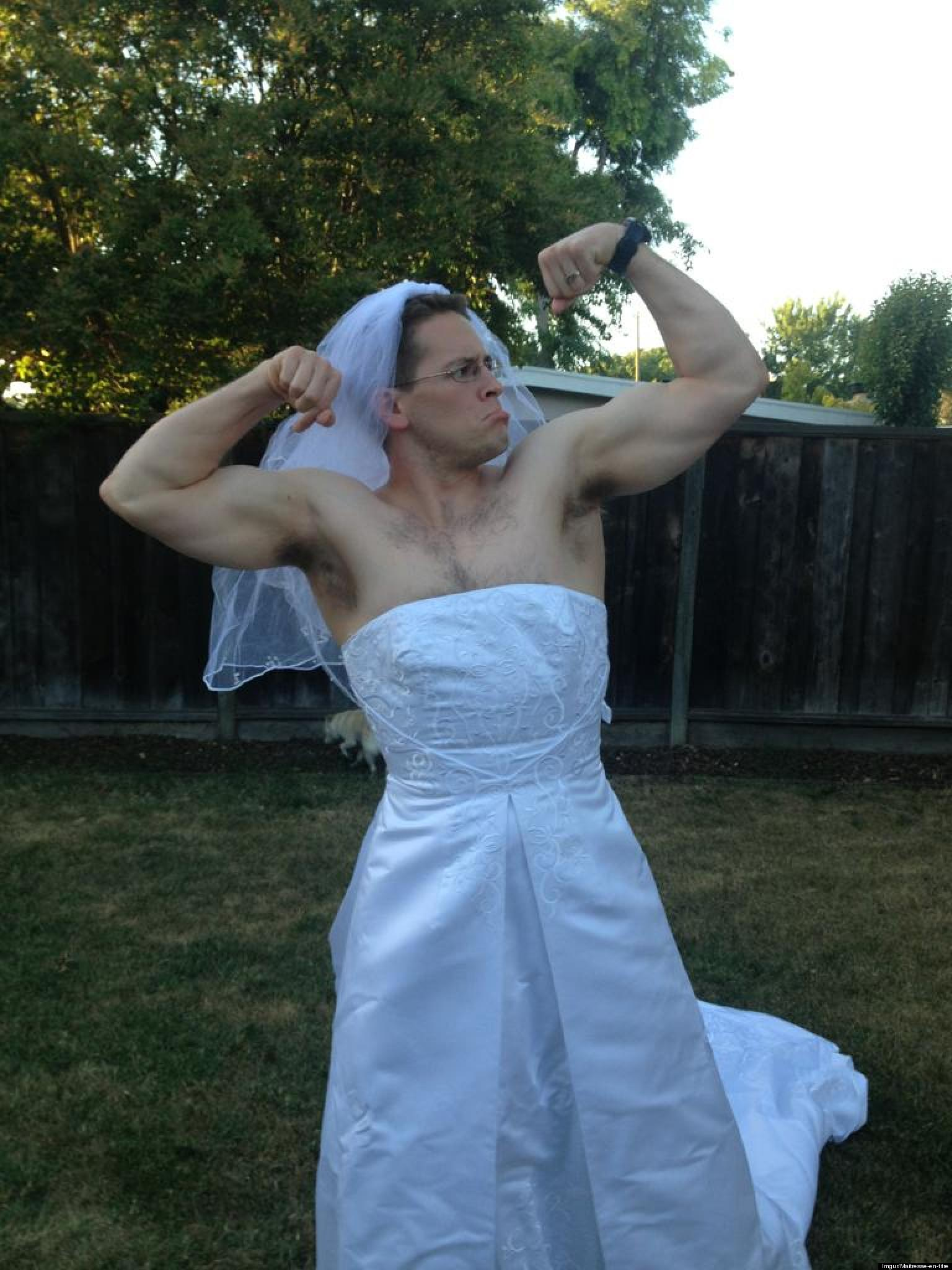 Funny Divorce Why This Man Is Wearing A Wedding Dress PHOTO