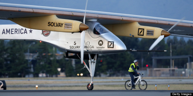 'Solar Impulse' Plane Lands In St. Louis, Despite Extreme Weather In  Central U.S.. Getty Images