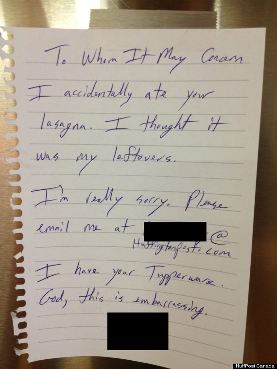 funny stolen lunch note